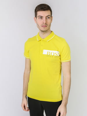 Футболка-поло желтая с логотипом | 5725477