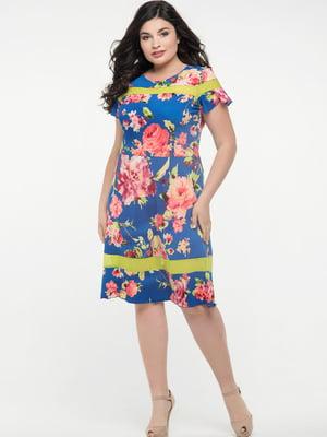 Платье синее в цветочный принт   5729248