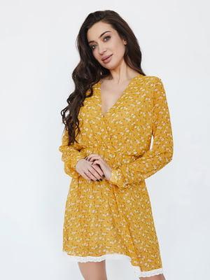 Платье горчичного цвета в цветочный принт   5729257