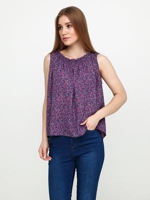 Блуза фиолетовая в цветочный принт | 5729568