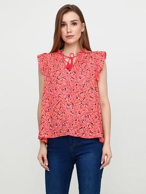 Блуза кораллового цвета в цветочный принт | 5729570