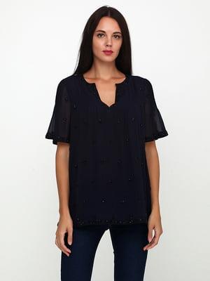 Блуза синяя с декором | 5729573