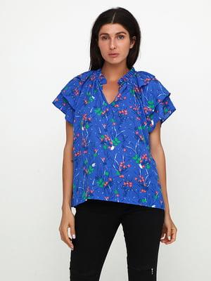 Блуза синяя в цветочный принт | 5729574