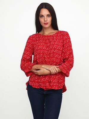 Блуза красного цвета в цветочный принт | 5729578