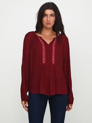 Блуза бордовая с вышивкой | 5729580