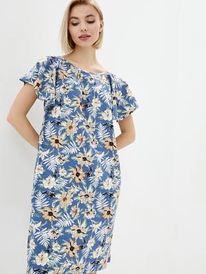 Платье синее в принт | 5729696