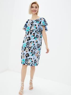 Сукня синя в принт | 5729697