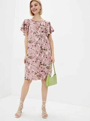 Сукня пудрового кольору в принт | 5729699