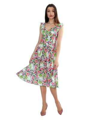 Сукня молочного кольору з принтом | 5419520
