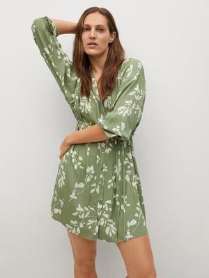 Платье зеленое в принт | 5730473