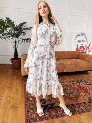 Сукня біла в квітковий принт | 5730548