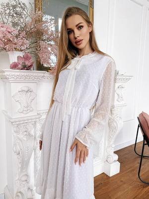 Сукня молочного кольору з декором | 5730551