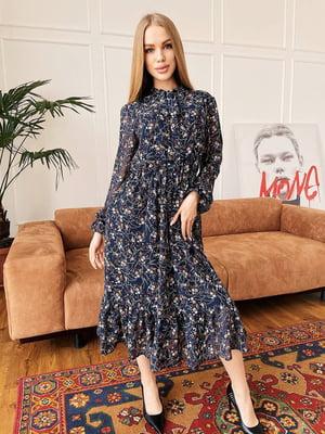 Сукня синя в квітковий принт | 5730552