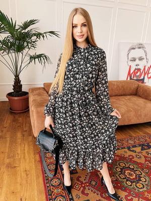 Сукня чорна в квітковий принт | 5730553