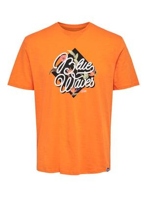 Футболка помаранчевого кольору з принтом | 5730655