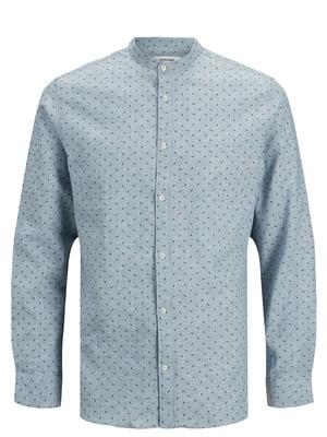 Рубашка голубая в принт | 5730912