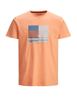 Футболка коралового кольору з принтом | 5730947