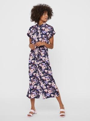 Сукня темно-синя у квітковий принт | 5730889