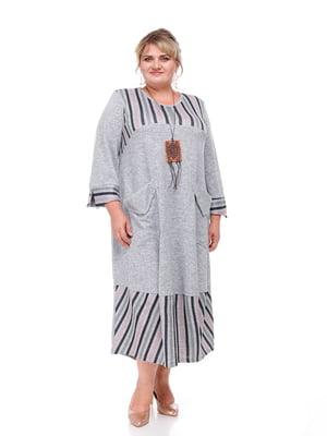 Платье серое в полоску | 5731425
