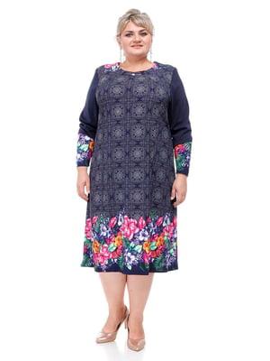 Платье синее с комбинированным принтом | 5731428