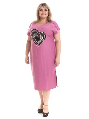 Платье розовое с декором | 5731450