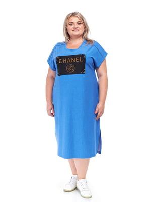 Платье голубое с декором | 5731451