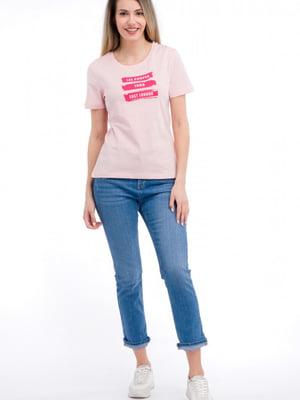 Футболка светло-розовая с принтом | 5730619