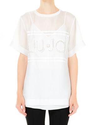 Блуза біла з малюнком | 5731173