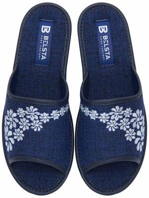 Тапочки синие с вышивкой   5731996