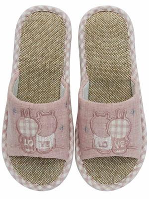 Тапочки рожеві з вишивкою   5732009