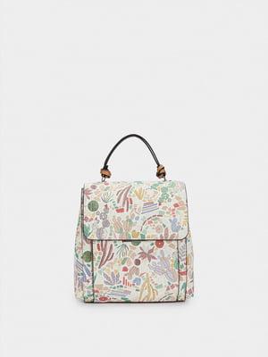 Рюкзак-сумка белый в принт | 5732125