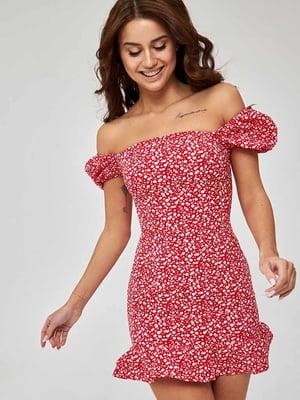 Сукня червона з квітковим принтом | 5733667