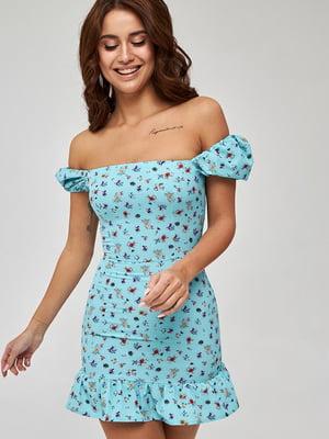Сукня м'ятного кольору з квітковим принтом | 5733668