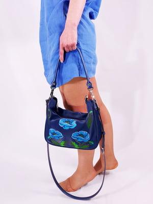 Сумка синя з квітковою вишивкою | 5733796