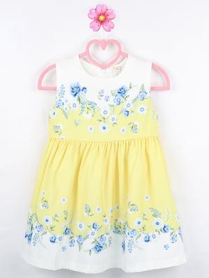 Платье бело-желтое с цветочным принтом | 5731973