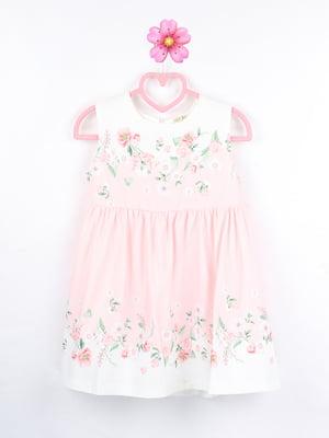 Платье бело-розовое с цветочным принтом | 5731974
