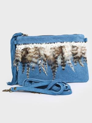Клатч синій з декором | 5716146