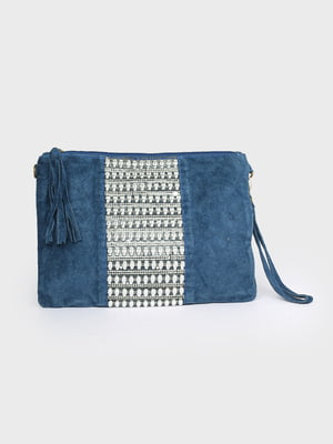 Клатч синій з декором | 5716209