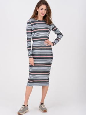 Платье комбинированной расцветки в полоску | 5733824