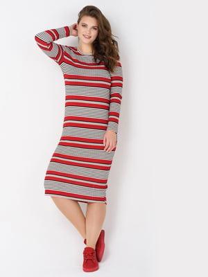 Платье комбинированной расцветки в полоску | 5733823