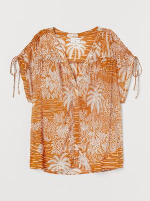 Блуза гірчичного кольору в принт | 5734138