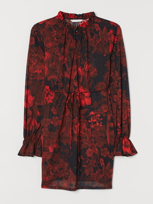 Туніка чорна з квітковим принтом | 5734141