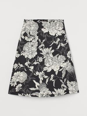 Юбка черная с цветочным принтом | 5734212