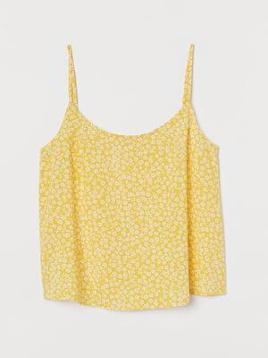 Топ желтый с цветочным принтом | 5734240