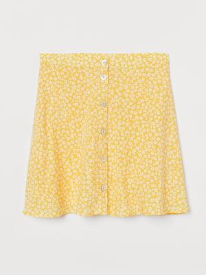 Юбка желтая с цветочным принтом | 5734271