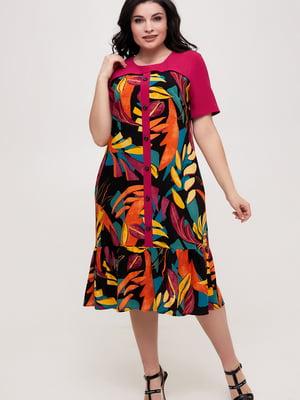 Платье малинового цвета в принт | 5734792