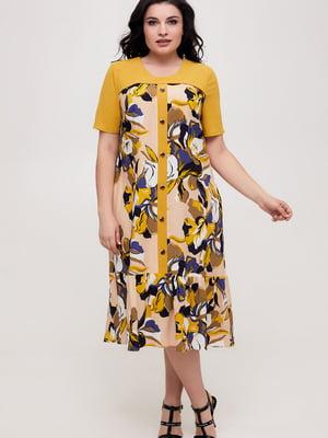 Платье горчичного цвета в принт   5734793