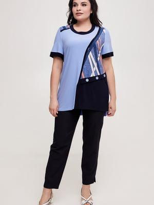 Блуза голубая с принтом | 5734801