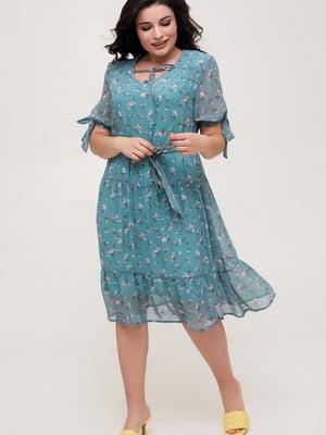 Сукня бірюзового кольору у квітковий принт   5734802