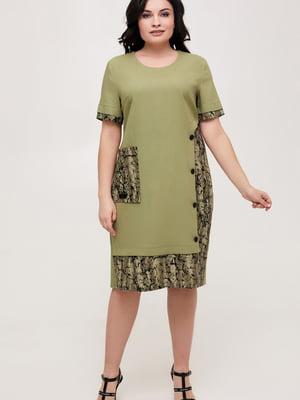 Сукня оливкового кольору з принтом   5734810